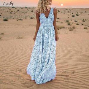 2020 Vestidos Summer Dress V Neck Women Sleeveless Dot Print Tassels Deep V Neck Long Beach Maxi Dress Feminine Plus Size