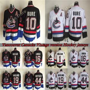 Mens CCM Vintage Vancouver Canucks jerseys 16 LINDEN 10 BURE 1 MCLEAN 19 NASLUND 44 BERTUZZI Throwback Retro S-XXXL Hockey Jersey
