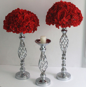 IMUWEN Gold  Silver Flowers Vases Candle Holders Road Lead Table Centerpiece Metal Stand Candlestick For Wedding Party Decor 201202