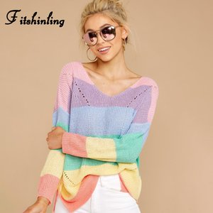 Fitshinling Macaron Striped Korean Sweaters For Women Long Sleeve Slim Cute Pullover Knitted Jumper Autumn Winter Pull Femme New