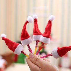 10pcs / lot Mini chapeaux de Noël rouge Père Noël Chapeau Bouteille Cap Décoration de Noël pour la maison Dinner Party Table Décoration de Noël