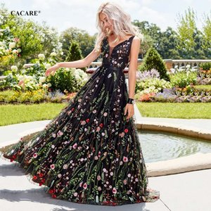Embroidered Floral Long Dress Women 2020 Fashion Elegant Evening Dress Runway Maxi CACARE F0498 Black S-2XL