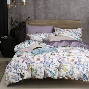 Bonenjoy Bedding Set Luxury 100%Egyptian 60S Long-staple Cotton Bed Linen Queen Size Bed Cover Birds Digital Printed Bedding Set T200630