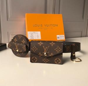 100% ausgezeichnete Beste Designer Männer Frauen Luxus-Kupplungs-Mappe Brown Taille Beutel Echtes Leder-Geldbeutel-Marke Ledergürtel mit Staubbeutel-Geschenkkasten