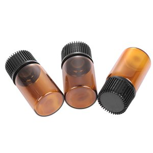 5Pcs 1/2/3 / 5ml Ätherisches Öl-Vorratsflasche Jar Orifice Brown Reducer Cap nachfüllbare Flaschen Glasphiolen Cosmetic Container