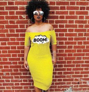 Couleur jaune Femmes Robes Mode BOOM Lettre Imprimé Slash Long Neck Robes Casual femme Vestidoes Vêtements