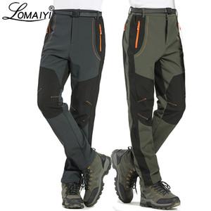 LOMAIYI 5XL Men's Warm Winter Pants Men Fleece Lining Cargo Pants Mens Waterproof Trousers Male Stretch Casual Work Pants AM110 CJ191212