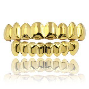 Классический Smooth Золото Серебро Белое золото покрыло Зубы Grillz 6 Сверху Снизу Поддельный Зубной Брекеты Грили Мужчины Lady Hip Hop Jewelry Рэпер Body