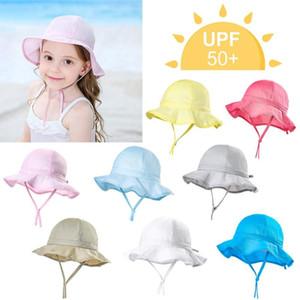 Bebek Yaz Şapka Açık Kova Şapka Bebek Bebek Çocuk Kız Erkek Çocuk Ruffles Şeker Katı Sun Beach Cap UPF 50+ # 2F