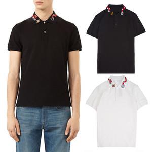 Männer Drehen Neck Stretch-Polo-Hemd mit Multi Schlange Stickerei Sommer Hot Polos beiläufige kurze Hülsen-Tops