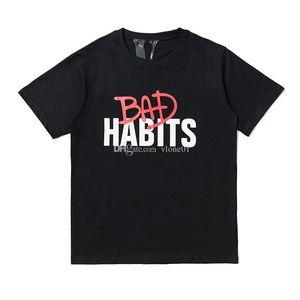 Vlone New Arrival Mens Designer T-shirt Streetwear Homme Femme Hip Hop court Sleev Mens Designer T-shirts Impression Lettre