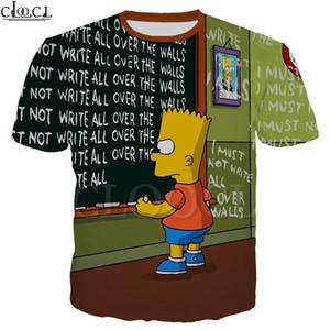 Anime Simpsons Tişörtlü Erkekler Kadınlar 3D Karikatür Bart Simpson Kısa Kollu Kazak O-Boyun Casual Streetwear Tops yazdır
