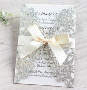 DHL Shipping romantic wedding invitation customized invitation card openwork lace invitation glitter laser cut wedding decoration