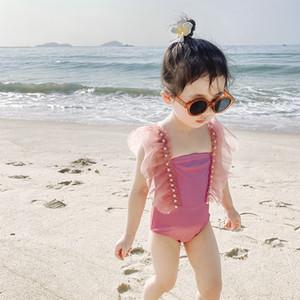 2020 nouvelles filles Princesse Maillot une pièce perle été dentelle Splicing Enfants Mode Jupes enfants Spa Maillots de bain C6234