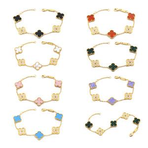 Top Messing materialflower mit fünf Blumennatur Achat und Diamant-Anhänger Armband für Frauen Hochzeitsgeschenk Schmuck Tropfen PS6327 Versand