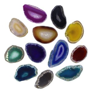 1Pcs Polished Irregular Shape Geode Pendant 8 Color Reiki Natural Pendants Crystal Brazil Stone Slice Healing Agate Choice G9O4