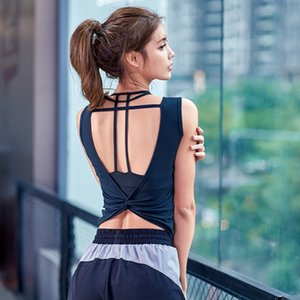 LEOQ Sexy Backless Yoga Tank Tops Workout Women Sleeveless Kink Behind Gym Tops Athletic Fitness Vest Active Gym Women Shirt