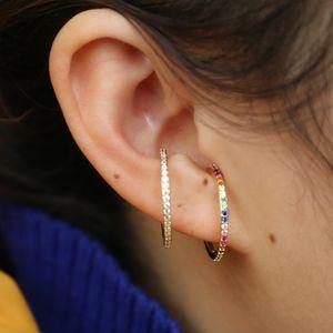 2019 novo designer Mulheres colorido CZ círculo Ear Cuff Enrole clipe de brincos de ouro de cor Wedding Penetrante brincos jóias Dual-purpose