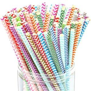 Biyobozunur Kağıt Payet Toptan - 100+ Stiller Gökkuşağı Çizgili Kağıt Straws İçme - Suları, Shakes için Toplu Kağıt Pipetler, QD Smooth