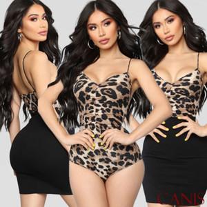 2019 Yeni Kadın Leopard BODYCON Bodysuit Kolsuz Bandaj Tulum Romper Leotard Artı Boyutu Tops