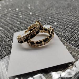 Accessori in pelle matel strass catena Orecchino ad anello di lusso di nuovo modo classico di modo della catena simbolo c orecchini regalo di design con il sacchetto