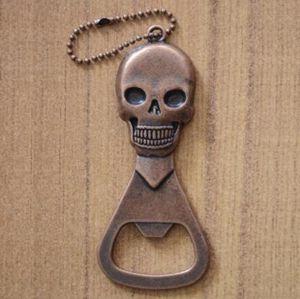 Skull Style Apribottiglie Mini Key Portable bottiglia di figura Birra Vino Opener Keychain attrezzo apri di colore del bronzo