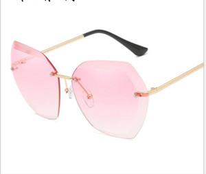 Ocean Lens Sunglasses European and American trend glasses trimmed sunglasses Women's frameless metal sunglasses