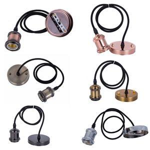 뜨거운 판매 램프베이스 E27 빈티지 레트로 램프 홀더 펜던트 전구 라이트 스크류 소켓 6 색상