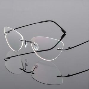 Randlose Glas-Rahmen-Frauen-Titan Ultralight Brillen Rezept Frameless Cat Eye Brillen Screwless Myopie optischer Rahmen 12PCS / lot