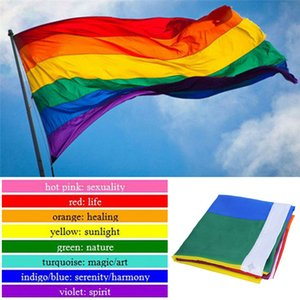 Rainbow Flag 3x5FT 90x150cm LGBT Banner in poliestere colorato Rainbow Flag Lesbica Gay Pride Colorful Rainbow Flag