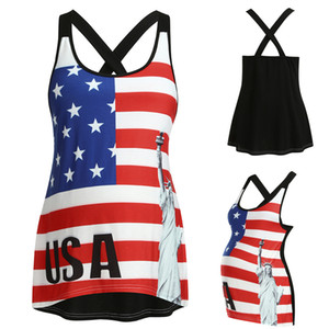Women Pregnant Maternity Clothes Sleeveless Blouse Tops Print Clothes Vest 4th Of July Breastfeeding Clothes Ropa Embarazada
