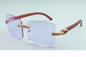 2020 Nuovi Uomini di grandi dimensioni occhiali da sole quadrati diamante pieno occhiali t3524012-2B lusso borderless naturale occhiali da sole in legno telaio