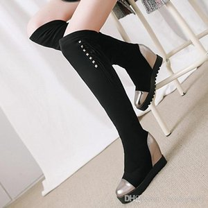 Plus size 34 to 42 Black Gold Patchwork Tassels Platform Wedge Over The Knee Thigh High Boots Winter Add Plush