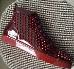 2018 new High Top Studded Spikes Casual Flats Red Bottom Luxury Shoes 2016 New For Men and Women Party Designer Sneakers Lovers Genuine Leat