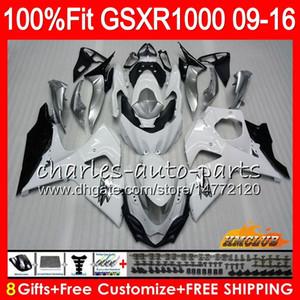 Inyección para SUZUKI GSXR1000 2009 2010 2011 2012 2014 2016 2016 16HC.14 GSXR-1000 K9 GSXR 1000 09 10 11 12 13 15 16 Carenado blanco brillante