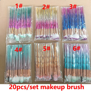 Brochas de maquillaje de diamantes 20pcs Set Kits de brochas en polvo Cepillo para ojos y cara Puff Batch ColorfulBrushes Brochas de base Cosméticos de belleza En stock