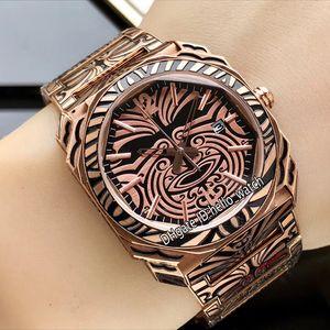 Nuevo Octo Retro Carve Rose Gold Case 102249 BGO41BSBLD / AB Maori Negro / Dorado Dial Suizo Cuarzo Acero inoxidable Pulsera Relojes deportivos 2 colores