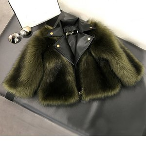 Girl fur Coat Jacket Imitation  Artificial Fur Grass High Quality Plush+leather Fake 2 pieces Winter Kids baby girlClothes