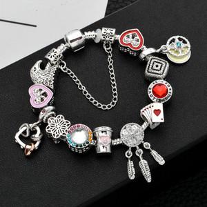 Hot sale New 925 silver Diamonds glass bead woman LOVE Bracelet Fits European Pandor Jewelry Charm snowflake Bracelets Valentines Day gift