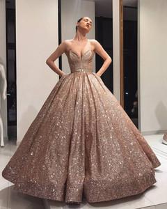 Pırıltılı 2020 Balo Elbise Sevgiliye Rose Gold Quinceanera Modelleri Arap Stili Dubai Uzun Abiye elbise de soiree Kadınlar Formal Elbise