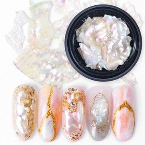 Nail Tatuaggi 3D lucido Abalone Shell della perla fetta Flake Nail Art Stones Charms Spangles punte manicure Accessori LA791