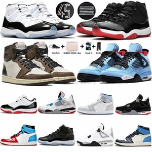 Nike Air Jordan Retro 11 Bred 11s Concord 45 Mens Basketball Shoes 4s Sneakers 1 Travis Scotts UNC low kanye sock Womens Outdoor Sports Sneakers