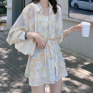 Neploe 2020 Summer New Printing Causal 2 Piece Sets Long Sleeve Medium-long Blouse + Wide Leg Shorts Korean Loose Suits 4C006