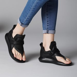 Skillful2019 Ancient Return Year Xia Zhenpi Flat Shoes Donna Motion Wind Concise Magic Clip Toes Sandals You