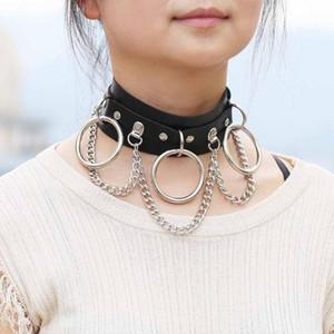 Collar de cuero de la mujer Esclavitud atractiva collar con grandes anillos de 3 gargantilla y Cadenas anillo o collar BDSM Slave cama Juego Coqueteo joyería