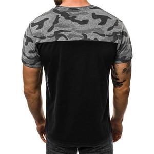Moda slim Mens Tops verão posters Camuflagem O-pescoço dos homens T-shirts Painéis respirável manga curta Mens camiseta