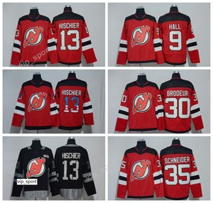 New Jersey Devils Hockey sobre hielo 9 Taylor Hall 13 Nico Hischier Jersey Bandera roja de EE. UU. Centenario 30 Martin Brodeur 35 Cory Schneider