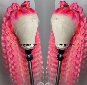 Moda perruque água resistente ao calor Amarrado cor-de-rosa brasileiro completo peruca dianteira do laço Mão profunda onda encaracolado peruca sintética para o branco Mulheres