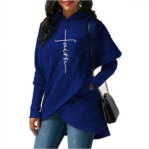 2020Women Fashion Hoodies Brand Letter Printing Hooded Sweatshirts Womens Designer Long Sleeve Embroidered Shirt Irregular Faith Hooded Tops