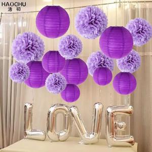 16pc / lot Rodada decorativa Tissue Paper Lantern Pom Poms Flor bolas do ouro da festa do casamento da cor do aniversário do miúdo Decoração Babyshower